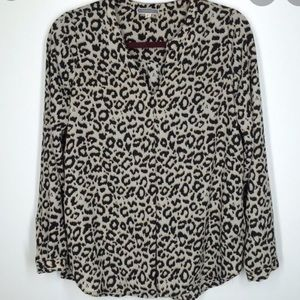 Pleione Leopard Cheetah Split-neck Blouse